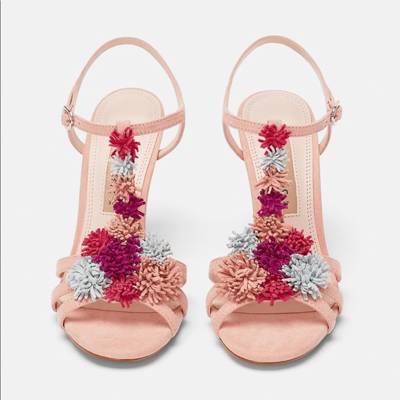c5eb11c7468 Zara NWT s Floral High Heel Sandals 7.5 38 6.5 37